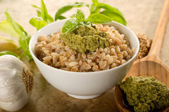 Spelt with pesto Royalty Free Stock Image