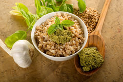 Spelt with pesto Royalty Free Stock Images