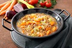 Spelt Soup, Farro Soup, Italian Cuisine In Metal Pan Royalty Free Stock Photo