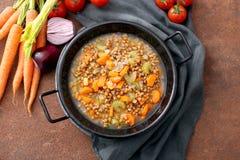 Spelt Soup, Farro Soup, Italian Cuisine In Metal Pan Stock Photo