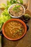 Spelt soup and spelt with pesto Stock Photos