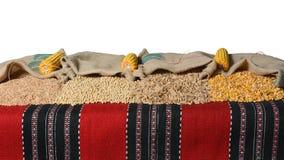 Spelt, soybean, wheat grains and corn kernels in jute sacks. Stock Photos