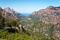 Spelunca-Schlucht und Porto-Tal in Korsika-Insel Lizenzfreies Stockfoto