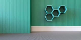 Spelzaal en minimaal op groene muur Stock Afbeeldingen