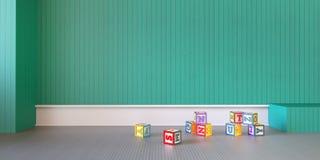 Spelzaal het Moderne van de Vertoningsbaby en Doos Stuk speelgoed teruggeven van /3d Stock Foto