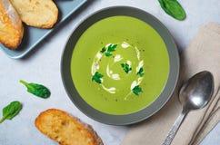 Spenatsoppa i en bunke, bästa sikt, vegetarisk mat, sunt äta Royaltyfria Bilder