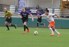 Spencer Vue. Forward for the Pacific university Tigers at Merlo field 11-8-15 stock photo