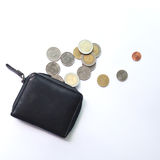 Spend all money in a purse. Spend all money and coins in a purse Stock Image