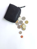 Spend all money in a purse. Spend all money and coins in a purse Royalty Free Stock Image