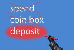 Spend?coin box?deposit? Royalty Free Stock Photo