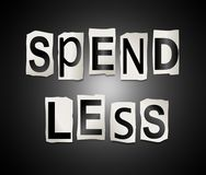Spend less concept. 3d Illustration depicting a set of cut out printed letters arranged to form the words spend less Stock Image