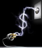 Spend Energy. Electricity forming the sign of US dollars. Concept of spend energy. Hydroelectric statistic Royalty Free Stock Photo