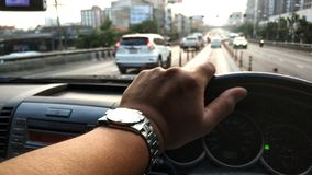Spend a lot of time in the car. On the road on the way to work Royalty Free Stock Photography