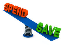 Spend save balance. Savings outweighing spending on a spring loaded balance, savings and banking concept vector illustration