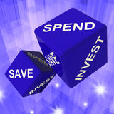 Spend, Save, Invest Dice Background Shows Royalty Free Stock Photo