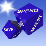 Spend, Save, Invest Dice Showing Budgeting royalty free illustration