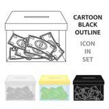 Spende moneybox Ikone in der Karikaturart lokalisiert auf weißem Hintergrund Stockfoto