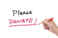 Spenden Sie bitte Lizenzfreies Stockbild