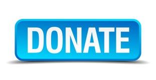 Spenden Sie blauen realistischen quadratischen Knopf 3d Stockfotos