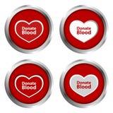 Spenden Sie Blut-Knopf Stockfotos