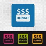 Spenden Sie die Knöpfe - bunte Vektor-Illustration - lokalisiert auf transparentem Hintergrund stock abbildung