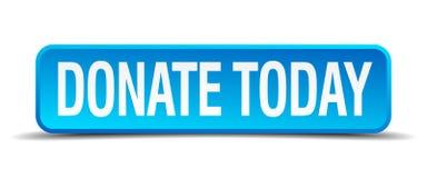 Spenden Sie heute blauen realistischen quadratischen Knopf 3d Lizenzfreie Stockfotografie