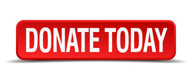 Spenden Sie heute roten Knopf des Quadrats 3d Stockbild