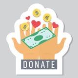 Spenden Sie Knopf mit den Händen und fallendem Geld Lizenzfreies Stockbild