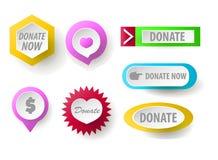 Spenden Sie Knopfsammlung Satz Netzknöpfe für Nächstenliebe Lizenzfreies Stockbild