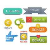 Spenden Sie Knopfvektorsatz Lizenzfreie Stockfotografie