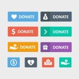 Spenden Sie Knopfvektorsatz lizenzfreie abbildung