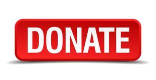 Spenden Sie roten Knopf des Quadrats 3d Stockbilder