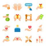 Spenden Sie und Ikonen-Satz gebend Lizenzfreies Stockfoto