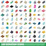 100 Spendenikonen eingestellt, isometrische Art 3d Stockfoto