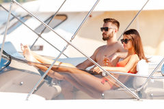 Spending carefree time on yacht. Royalty Free Stock Photography
