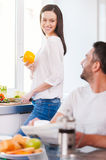 Spending good morning together. Royalty Free Stock Photos