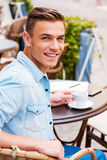 Spending good time in cafe. Royalty Free Stock Image