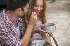 Spending good times on camping. Camping food can be really delicious stock images
