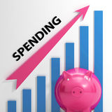 Spending Graph Means Costs Expenses And Outlay Stock Photos