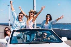 Spending great time in convertible. Stock Images