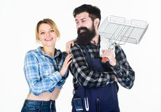 Spending nice time at home. Man bearded hipster and girl. Preparation and culinary. Picnic barbecue. food cooking royalty free stock images