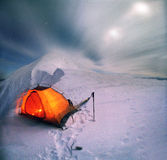 Spending the night on the ridge of the mountain stock photography