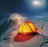 Spending the night on the ridge of the mountain Stock Image