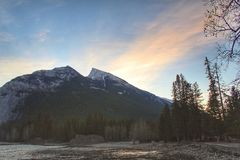 Spending a peaceful morning outside by the bow falls view point stock image