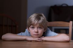 Spending time alone. Little boy is spending lots of time alone Royalty Free Stock Photography