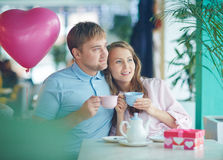 Spending time in cafe Royalty Free Stock Image