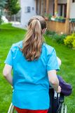 Spending time outdoor with caregiver Royalty Free Stock Image