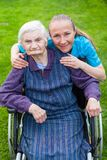 Spending time outdoor with caregiver Stock Photo