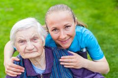 Spending time outdoor with caregiver Royalty Free Stock Photography