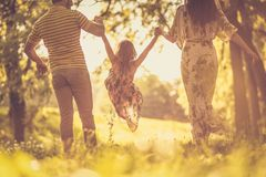 Spending time with parents outside. stock photography